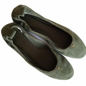 tory burch therese suede ballet flat olive green